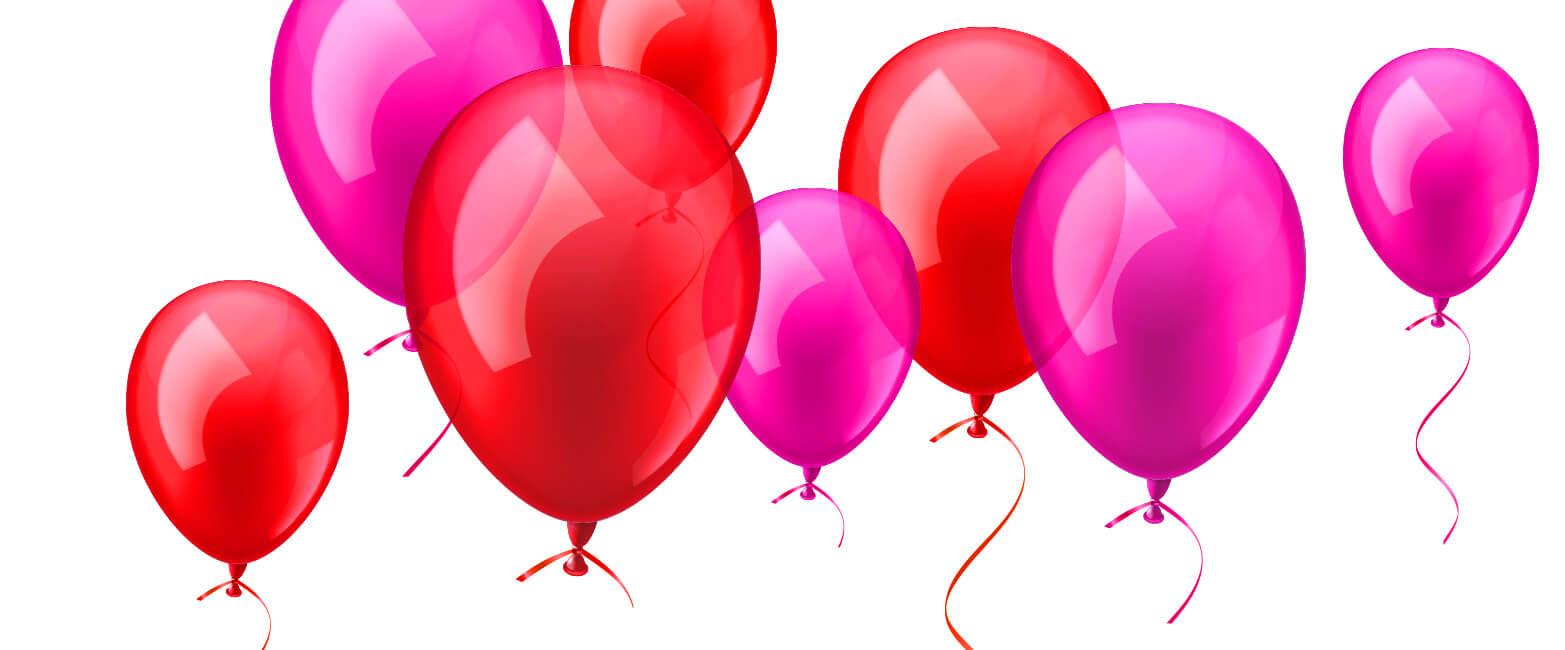 Luftballons rot und lila